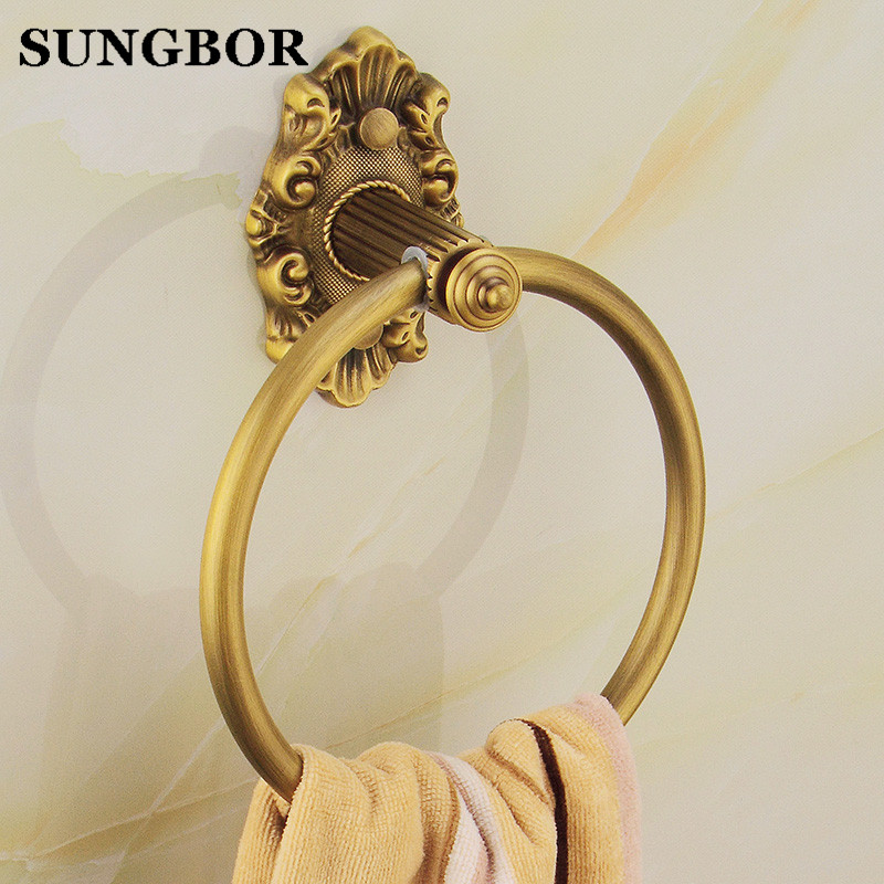 все цены на  Free Shipping! New Antique Brass Bathroom Accessories Towel Ring Towel Rack Holder Wall Mounted GJ-8507F  в интернете