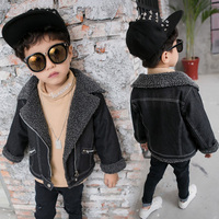 Thick Fleece Baby Boys Denim Jacket Warm Flannel Embrace Toddler Kids Jean Coat Children's Clothes Fall Winter