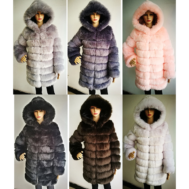 Elegant Faux Fox Fur Coat Women Winter casual Warm Luxury Fake Fur coat 2018 Fashion fluffy Coats Female Hooded Jacket Overcoat 4