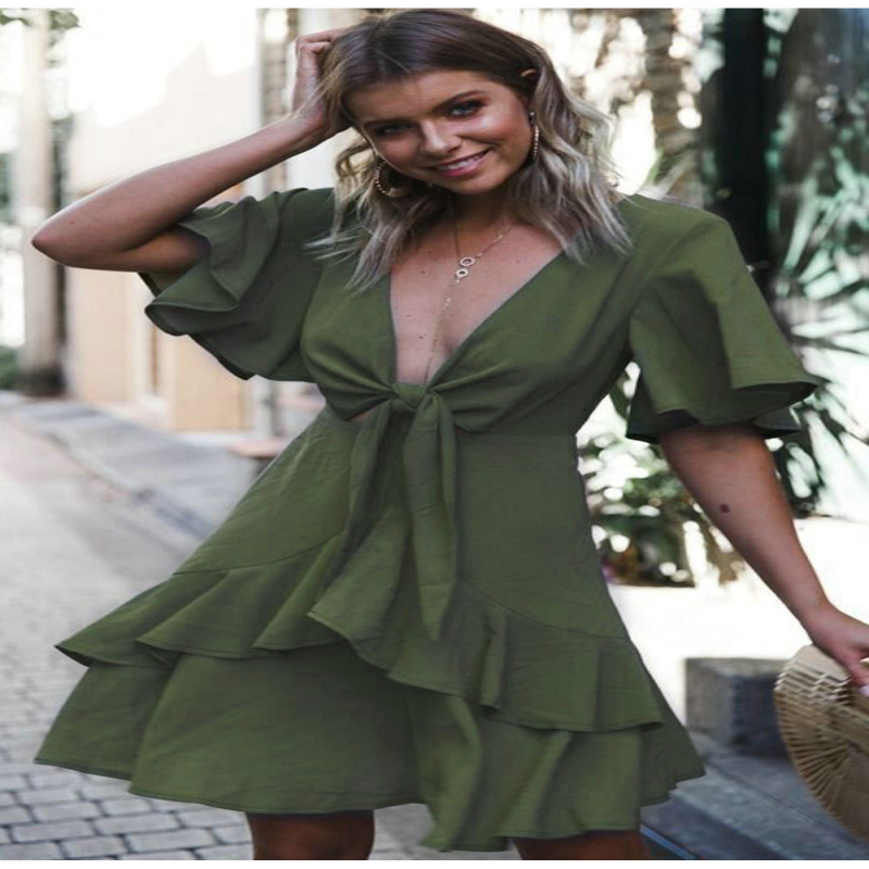 2018 Summer hot women's elegant and sexy V-neck bow ladies casual dress Fashion Design Bow Short Sleeve Ruffle Mini Dress S-XL