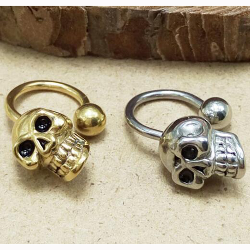 2Piece Punk Stainless Steel Stud Earring Men Circular Barbells Horseshoe Nose Skull Earring Body Piercing Jewelry Black