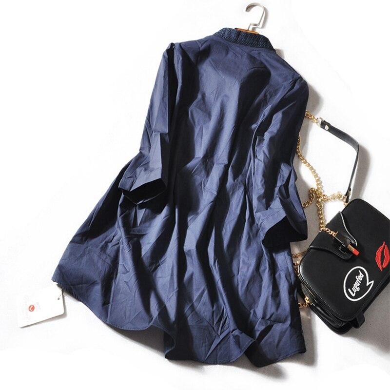 À Nouveau Marine Mode 2018 Bleu Manches Femmes Printemps Coton Blouse Lâche Perles Longues Lourd Broderie Chemises Été xrPxwtAqa