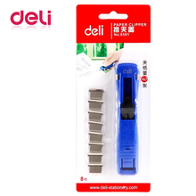 Deli 1pcs metal paper cliper blue clip refills large capacity folder paperless machine binding