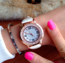 Ladies Fashion Quartz Watch Women Rhinestone PU Leather Casual Dress Women's Watch Rose Gold Crystal reloje mujer montre femme
