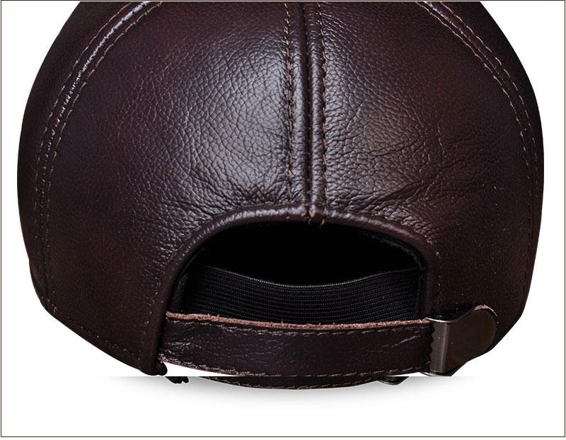 Genuine Leather Embossed Mens Baseball Cap - Brown Rear View Close-up