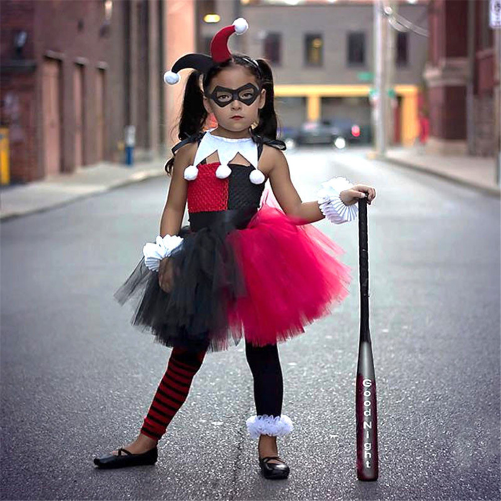 Cosplay Suicide Squad Harley Quinn Dress Clown Girl Sorcerer Tutu / Headdress Uniform Child Girl Kids Halloween Christmas Dress