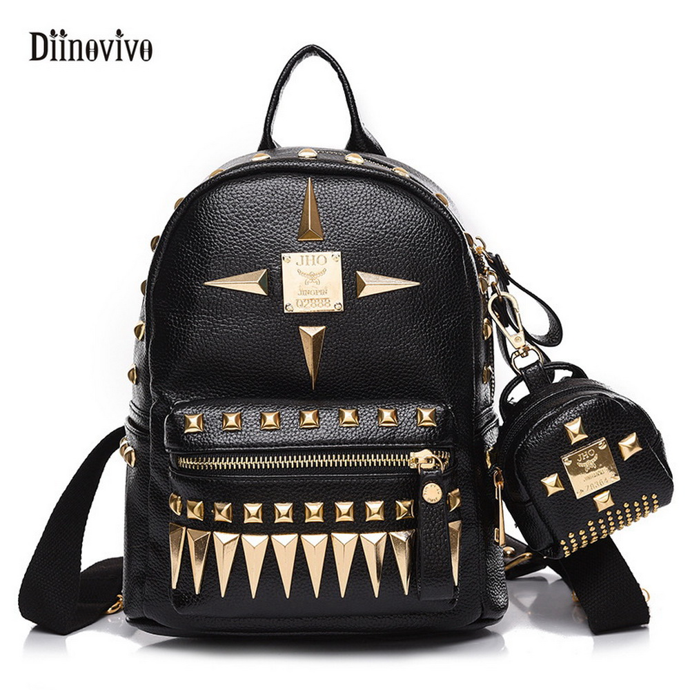 DIINOVIVO Preppy Style Fashion Punk Schoolbag Rivet Youth Leather Knapsack Waterproof Travel Bag Teenage Girls Backpack