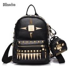 Diinovivo элегантный дизайн модные панк школьный заклепки Молодежный кожаный рюкзак Водонепроницаемый дорожная сумка подростков Обувь для девочек рюкзак WHDV0049