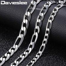Davieslee Мужская цепочка ожерелье из нержавеющей стали s для мужчин Figaro Link модные ювелирные изделия 6/7/9 мм 18-24 дюймов KNM05