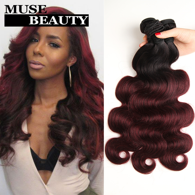 Peruvian Ombre Red Hair Extensions Two Tone 1b99j Peruvian Human