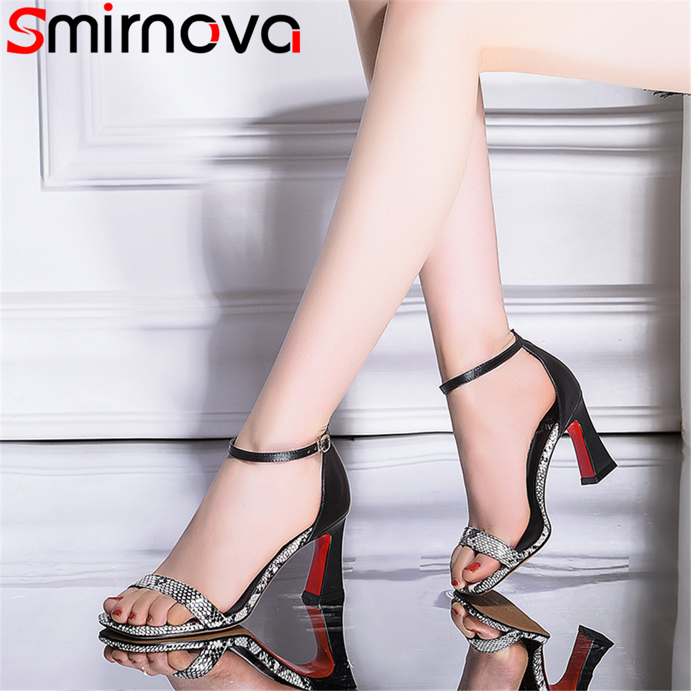 Smirnova black big size 33 43 summer new shoes woman buckle elegant sandals women thick heel
