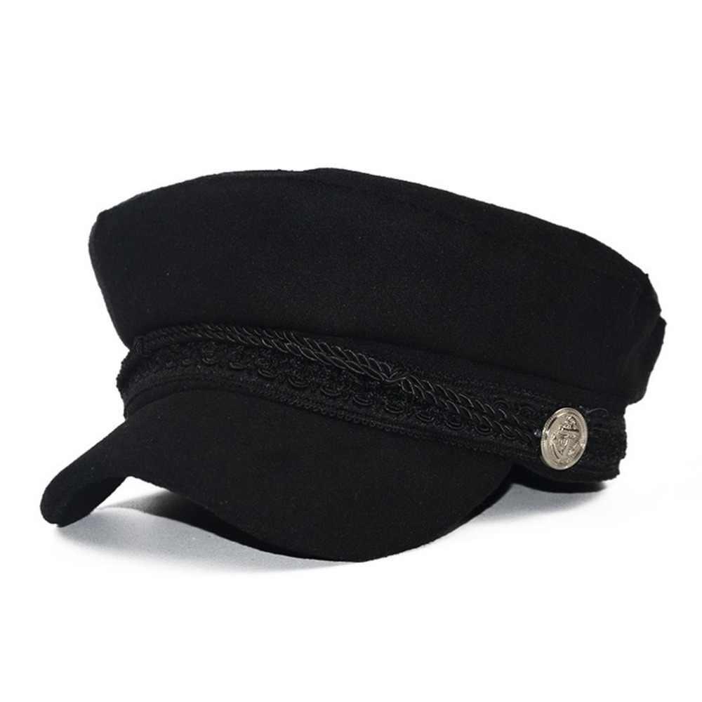 Gorros de invierno para mujeres gorra militar Vintage de lana de algodón  gorra de boina de 9d88965796d