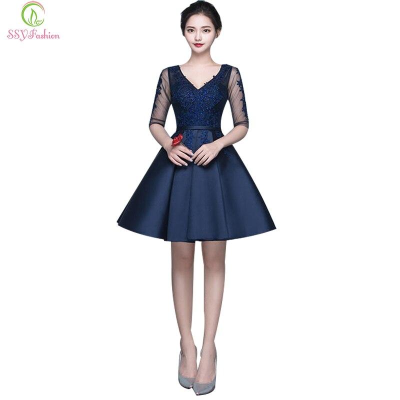 SSYFashion Sexy Slim V-neck Lace Satin Half Sleeves Short Cocktail Dress  Bride Banquet Elegant 06b6044779de