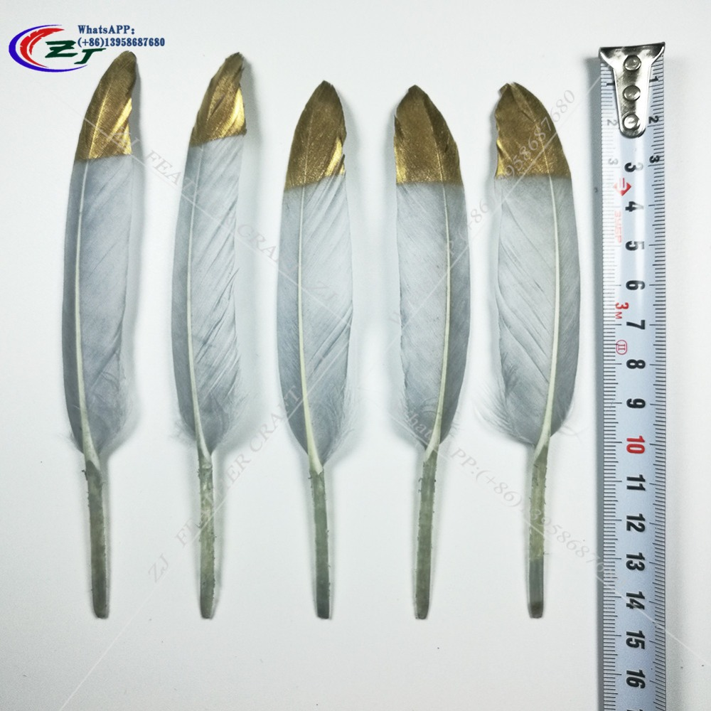 New Arrival 100pcs 10-15cm 4-6 Gold/Grey Goose Feathers/Duck feather For Craft/Milinery Free Shipping