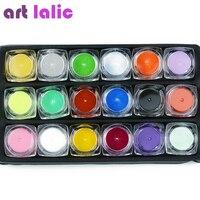 18 Color Acrylic Powder 3D Nail Art Manicure Nail Tips
