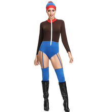 Elastic bodysuit with suspenders cover adult cosplay masquerade show circus funny clown costume festival holiday Helloween