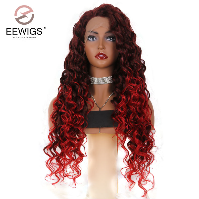 EEWIGS Long Curly Ombre Red Wigs Synthetic Lace Front Wig Long Curly Dark Red Wigs Natur ...