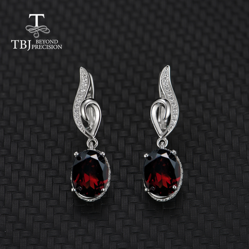 TBJ 2019new style natural garnet earring gemstone 925 sterling silver fine jewelry simple design for woman