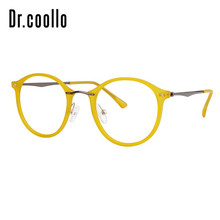 Fashion Designer Ultralight Yellow Round Circle Optical Sunglasses Eye Glasses Frame For Women Men