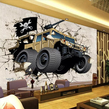 Car broken wall 3D personality mural TV background professional production wholesale wallpaper poster photo
