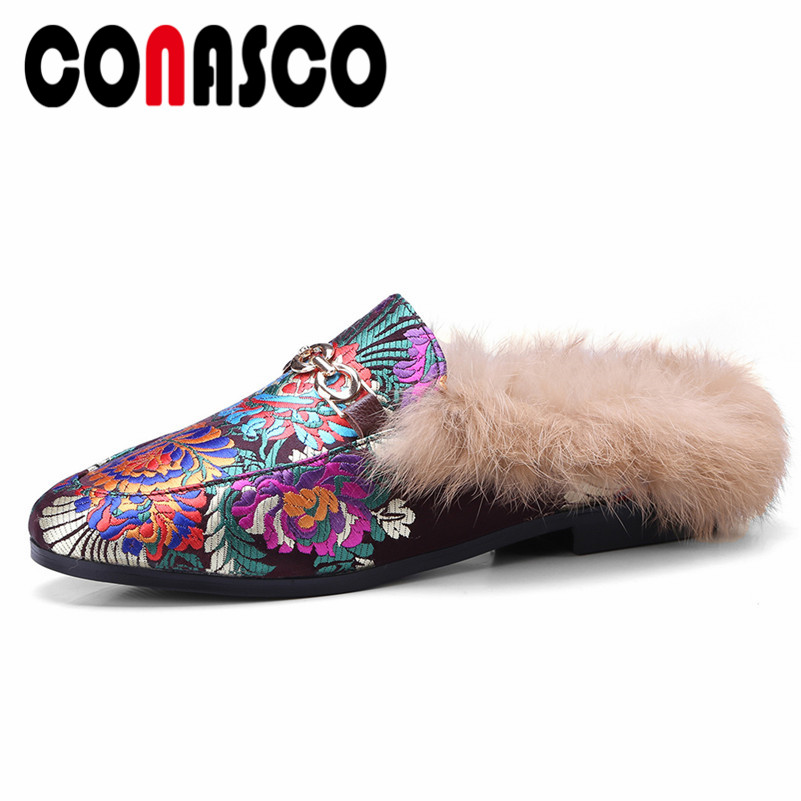 CONASCO Retro Women Silk Slingbacks Pumps Rabbit Fur Party Wedding Shoes Woman Warm Ladies Comfort Casual Shoes Low Heels PumpsCONASCO Retro Women Silk Slingbacks Pumps Rabbit Fur Party Wedding Shoes Woman Warm Ladies Comfort Casual Shoes Low Heels Pumps