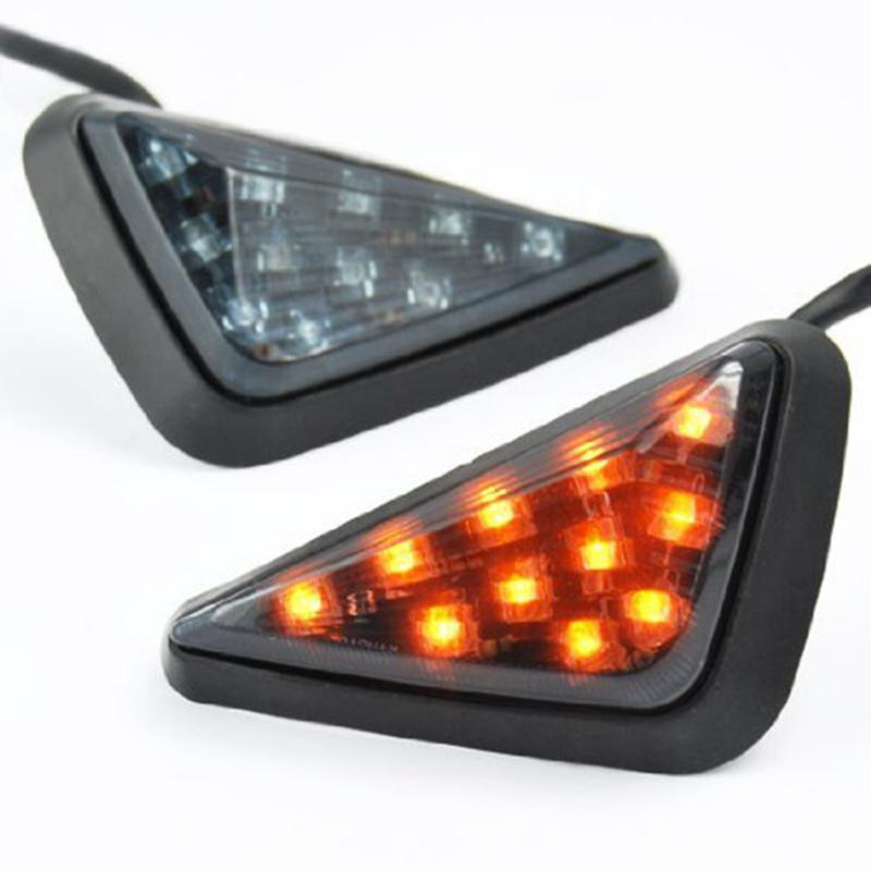 LED Motorcycle Turning Signals Light Smoke Triangle Flush Mount Waterproof Easy Installation Turn Signal Blinker Flashing Lights