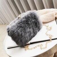 Winter Design Kunstpelz Tasche Frauen Kette Umhängetasche Messenger plüsch Abendtasche Party Fashion Kaninchen Haar Abendessen Tasche Box kupplung