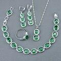 Criado verde Esmeralda Branco Topaz 925 Sterling Silver Conjuntos de Jóias Para As Mulheres Pulseiras/Brincos/Anéis/Colar/pingente de Caixa Livre