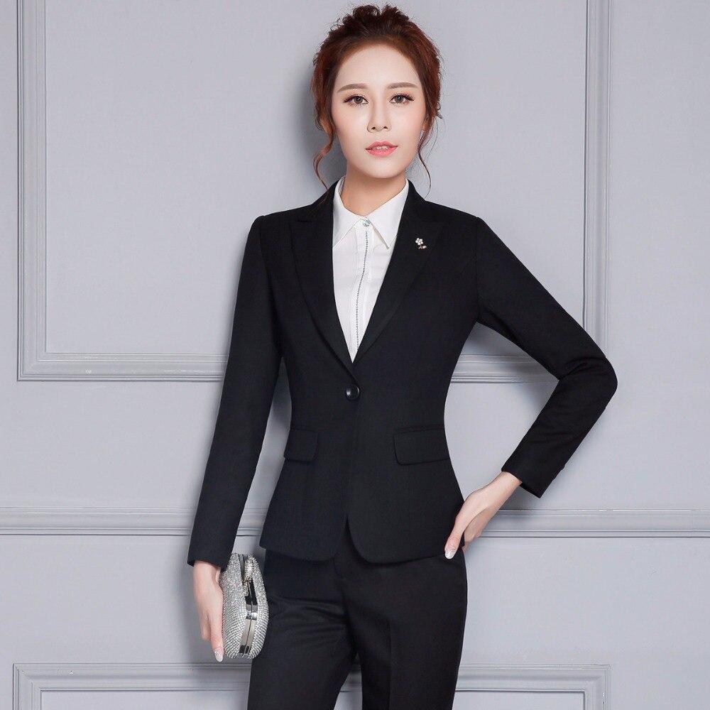 Jacket Pants Women Business Suits Formal Elagant Pants Suits Slim Ladies Office Uniform 2 Piece Work Suits Female Trouser Suits