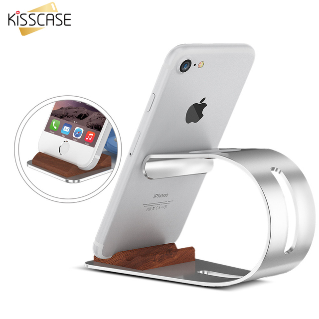 KISSCASE Mobile Phone Stand Holder For iPhone 6 6s 5S Universal Luxury Aluminum Alloy Hybrid Wood Desktop Support Holder Stand