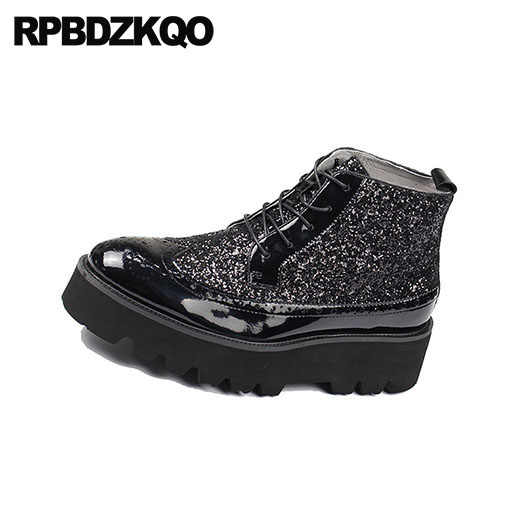 737075e679d ... Oxford High Top Platform Wingtip Glitter Sneakers Shoes Men Black  Patent Leather Boots Red Brogue Ankle