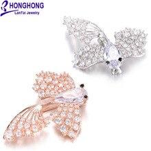 Honghong новые высококачественные циркониевые маленькие брошки «Золотая рыбка» булавки для свадебных букетов женские броши Милая брошь с животными
