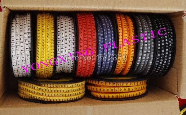 10roll/lot colorful Cable marker EC-1 2.5 square meter 10 different number, 10 different color 10roll lot cable marker ec 0 ec 1 ec 2 ec 3 ec j five size mixed in box