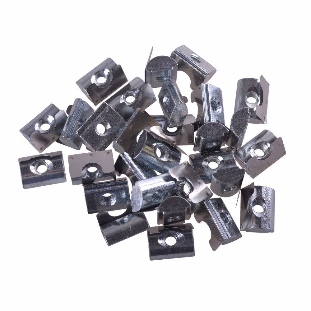 30pcs Silver European Standard Carbon Steel Drop in T Nut with Spring Sheet for Aluminum Extrusion with Profile 45 Series M6