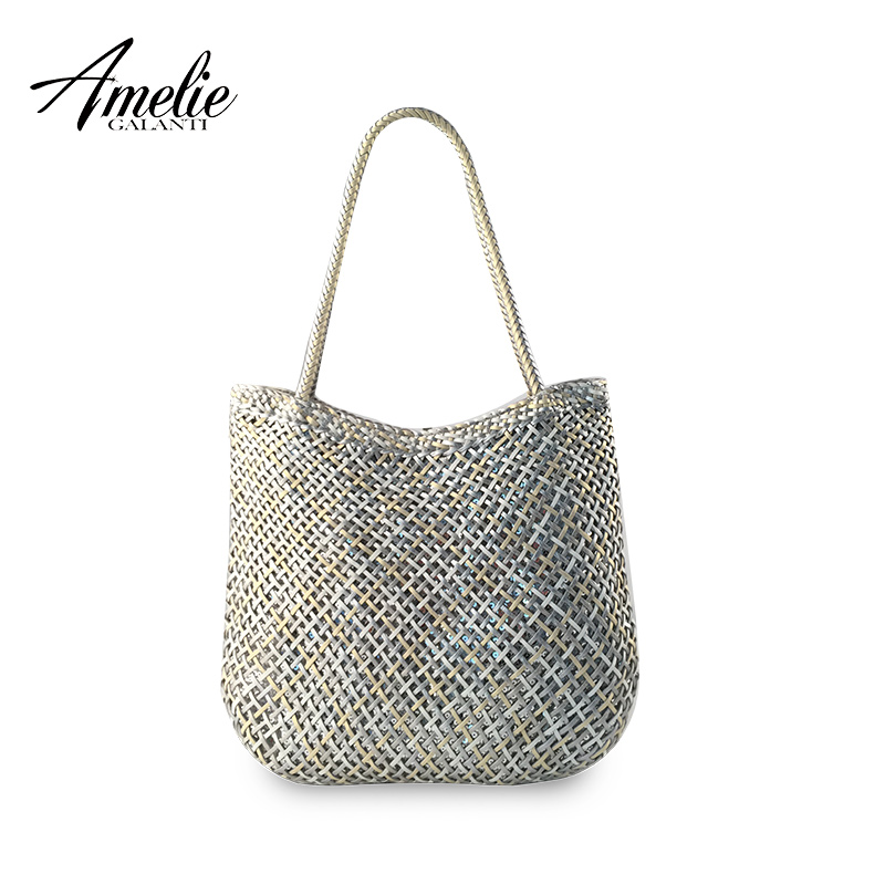 AMWLIE GALANTI  classic style woven bag sequins knitting retro portable shoulder