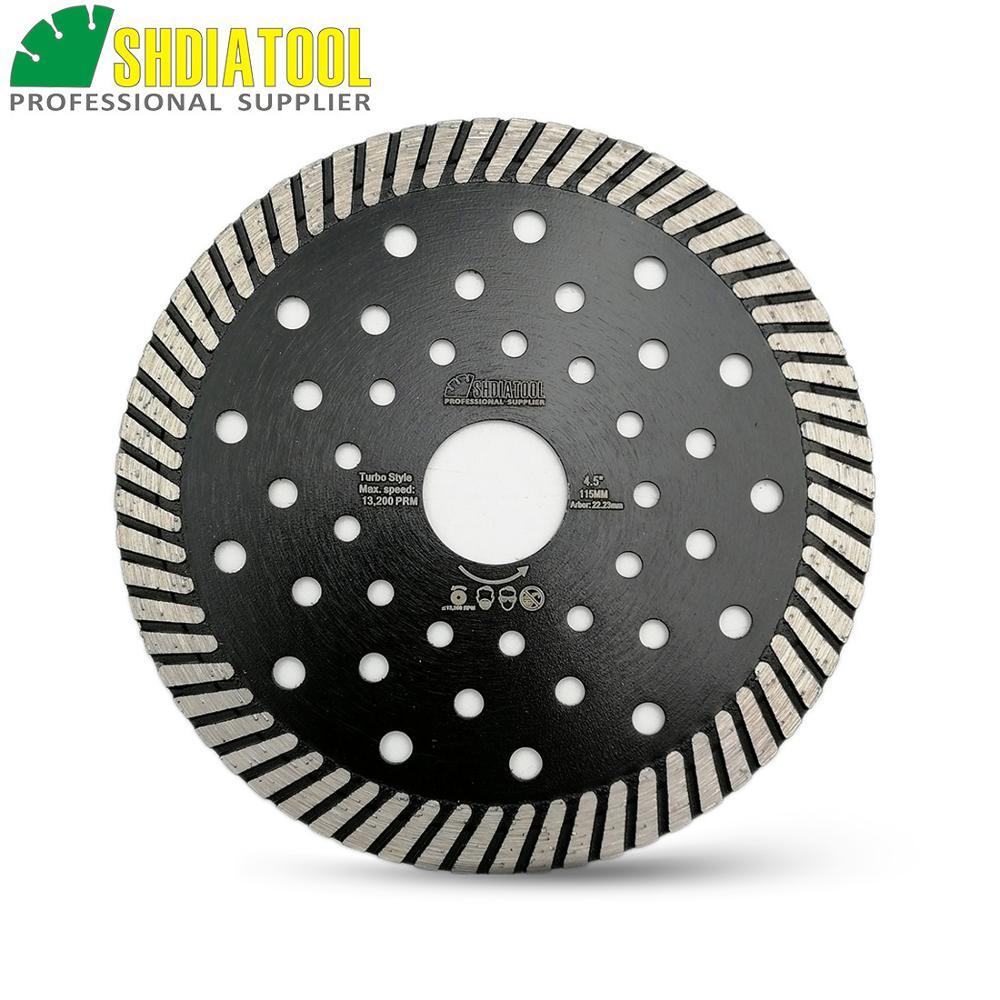 SHDIATOOL 115MM Diamond Hot Pressed Narrow Turbo Blade 10mm Segment Height Cutting Discs Fast Cutting Speed
