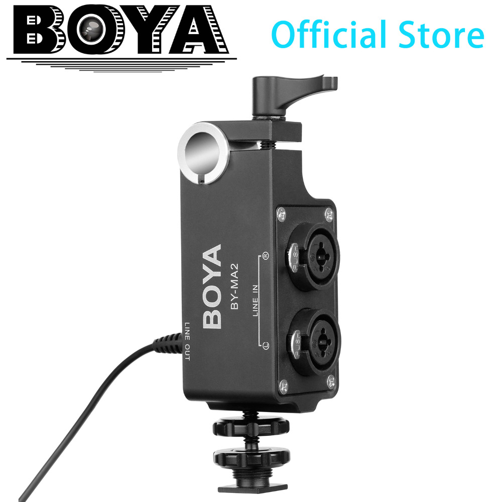 BOYA BY-MA2 Dual-Channel XLR Audio Mixer with 6.35mm input & 3.5mm Jack for Wireless Microphone Systems and DSLRs & Camcorders недорго, оригинальная цена