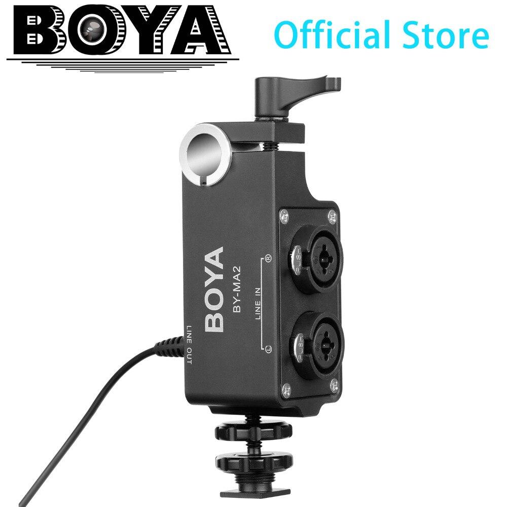 BOYA BY-MA2 mélangeur Audio double canal XLR avec entrée 6.35mm et prise 3.5mm pour systèmes de Microphone sans fil et reflex numériques et caméscopes