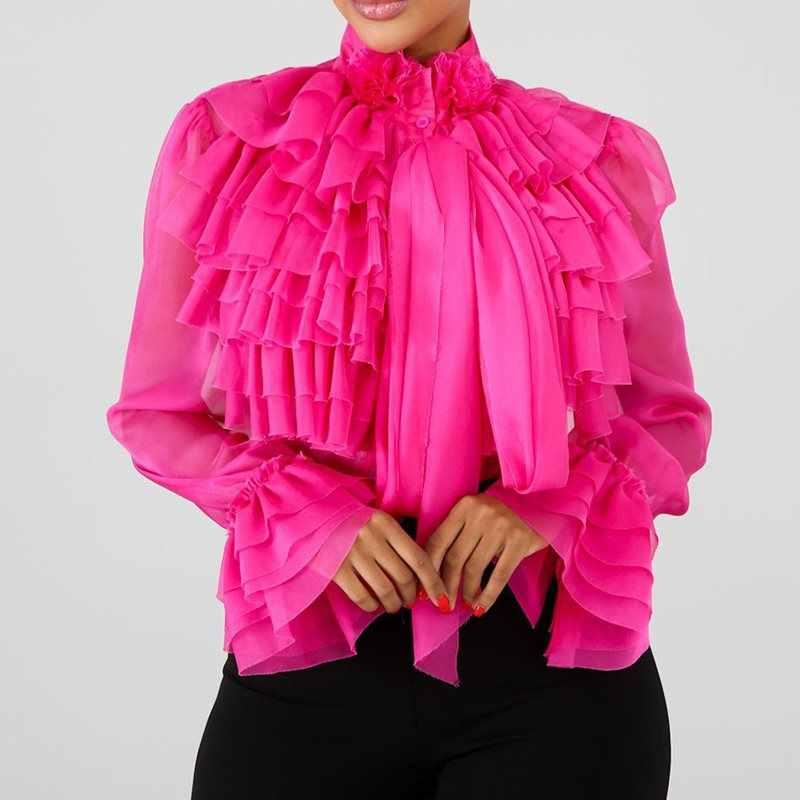 רגיל Falbala ארוך שרוול חולצה נשים 2019 קיץ ורוד ראפלס חולצות חולצה נשי בתוספת גודל משרד ליידי OL אלגנטי ליידי חולצות