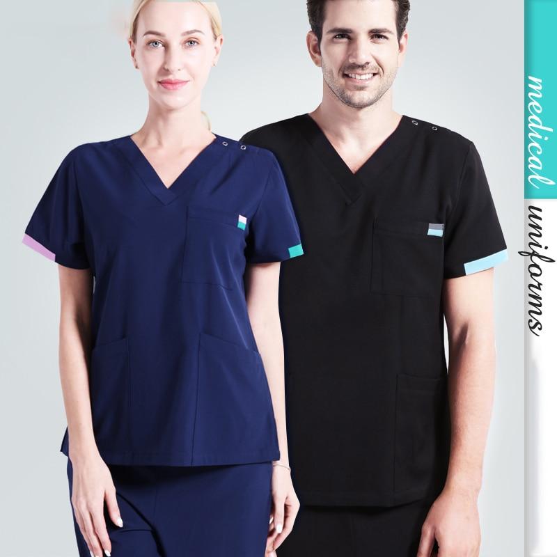 Nurse Uniforms Unisex Surgeon Uniform Medical Scrub Work Wear Nursing Suit Modern Classic V neck Short