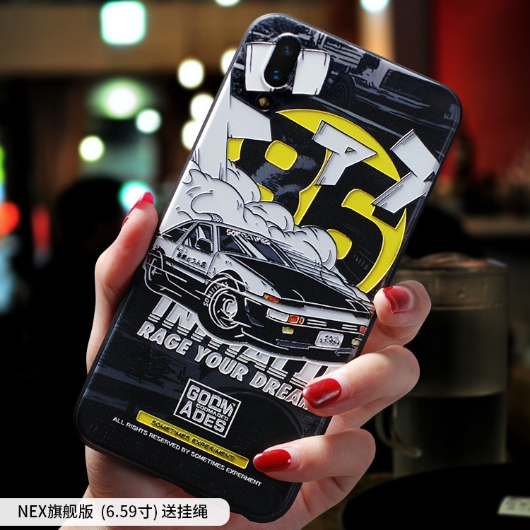 Initial D Moon Astronaut Smoking warning embossed Relief case For vivo nex vivonex case cover in Fitted Cases from Cellphones Telecommunications