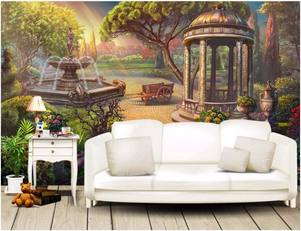 3d wallpaper custom photo European garden fountain picture room decoration painting 3d wall murals wallpaper for walls 3 d custom photo 3d ceiling murals wall paper blue sky rose flower dove room decor painting 3d wall murals wallpaper for walls 3 d