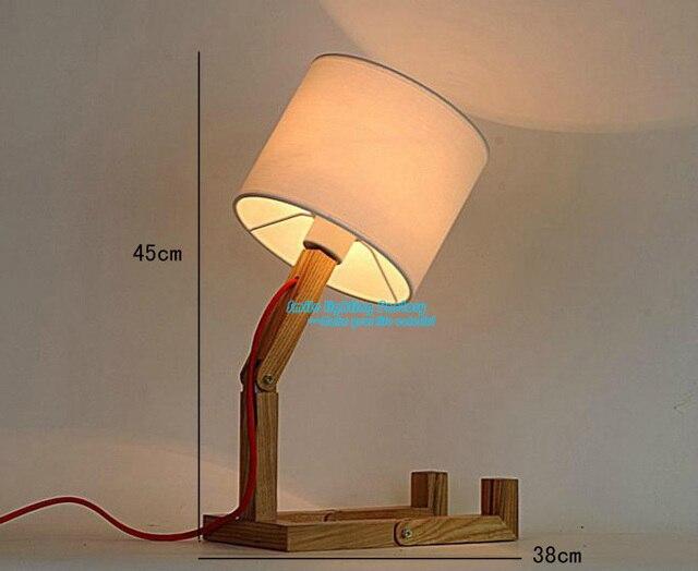 Creative Protecting Eye Fashion Design Original Wood Table Lamp Contemporary White Shade Robot Desk Light