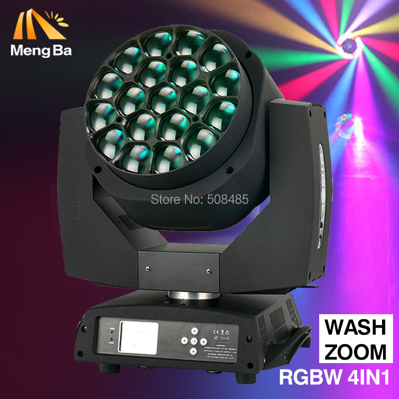 New Big Bee Eye led moving head zoom function DMX 512 wash light RGBW 4IN1 19x15W Beam effect light party/bar/DJ/stage lightting цена