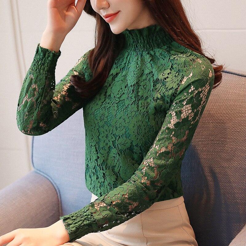 fashion woman blouses 2018 Spring summer Hollow Out Lace Women's tops Blouses Women blusas long sleeve Female shirt plus size 8