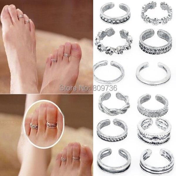 12 pcs gros Mix Celebrity Fashion Simple Retro sculpté fleur Toe pied réglable anneau femmes bijoux chute libre