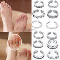 12pcs Wholesale Mix Celebrity Fashion Simple Retro Carved Flower Adjustable Toe Ring Foot Women Jewelry Drop Free