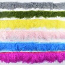1 ярдов/партия, натуральные пушистые перья марабу, отделка, бахрома, перья индейки, для рукоделия, лента, одежда с боа, свадебное украшение, Плюмы