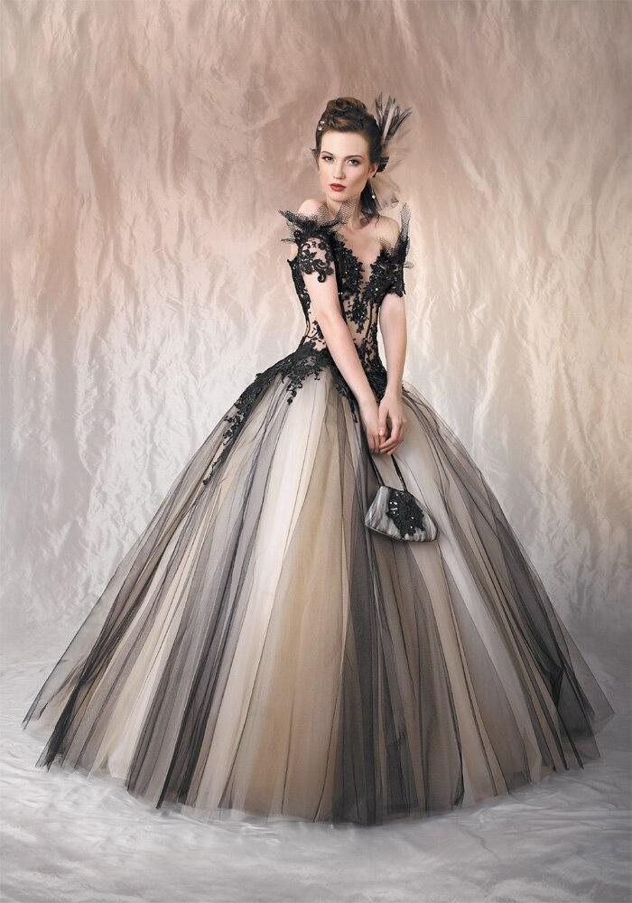 Vintage Black Nude Non white Two Tone Tulle Gothic Wedding Dresses ...