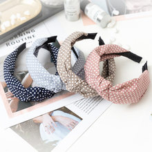 HOT 1pc Korean Style Headband Women Sweet Bezel Glossy Top Knot Hairband Girls Fashion Bow Soft Cross Hair Accessories Ornament(China)